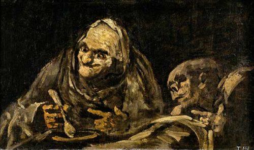 پیرمردان در حال خوردن سوپ